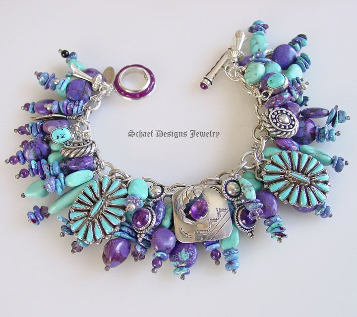 Purple turquoise & amethyst Native American charms bracelet by Schaef Designs Jewelry