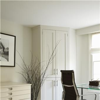 Study in All White with closet design