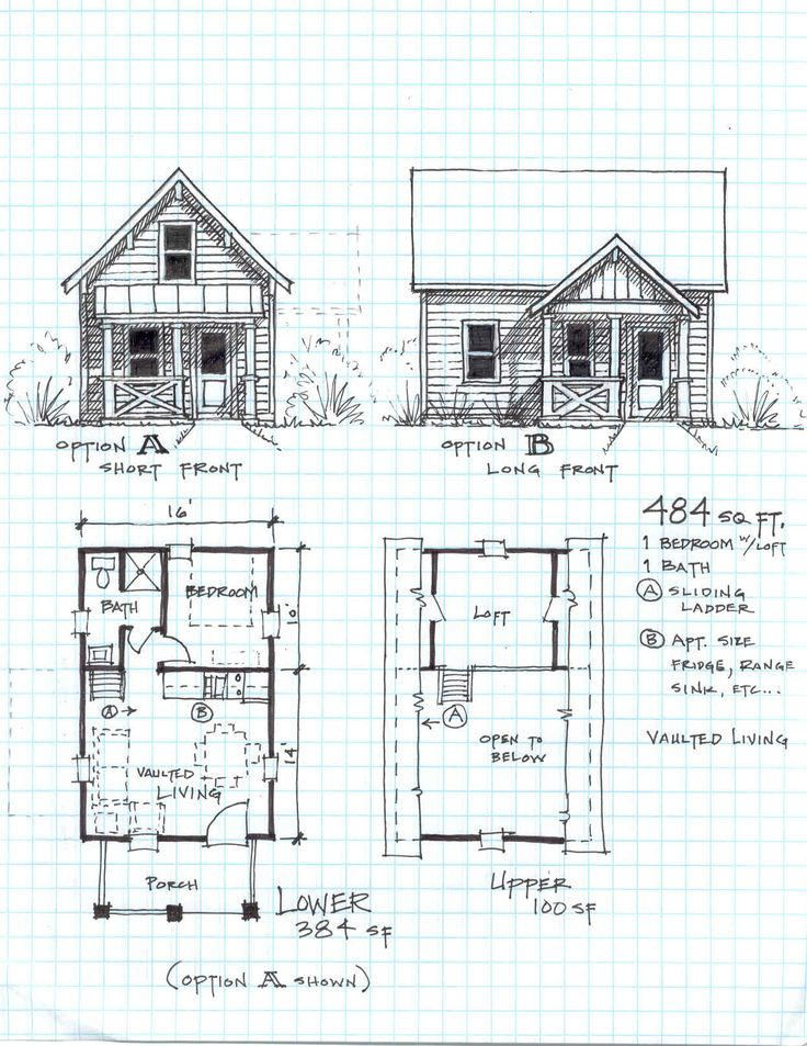 Cabin Plans With Loft Free Cottage Bunkie Pinterest
