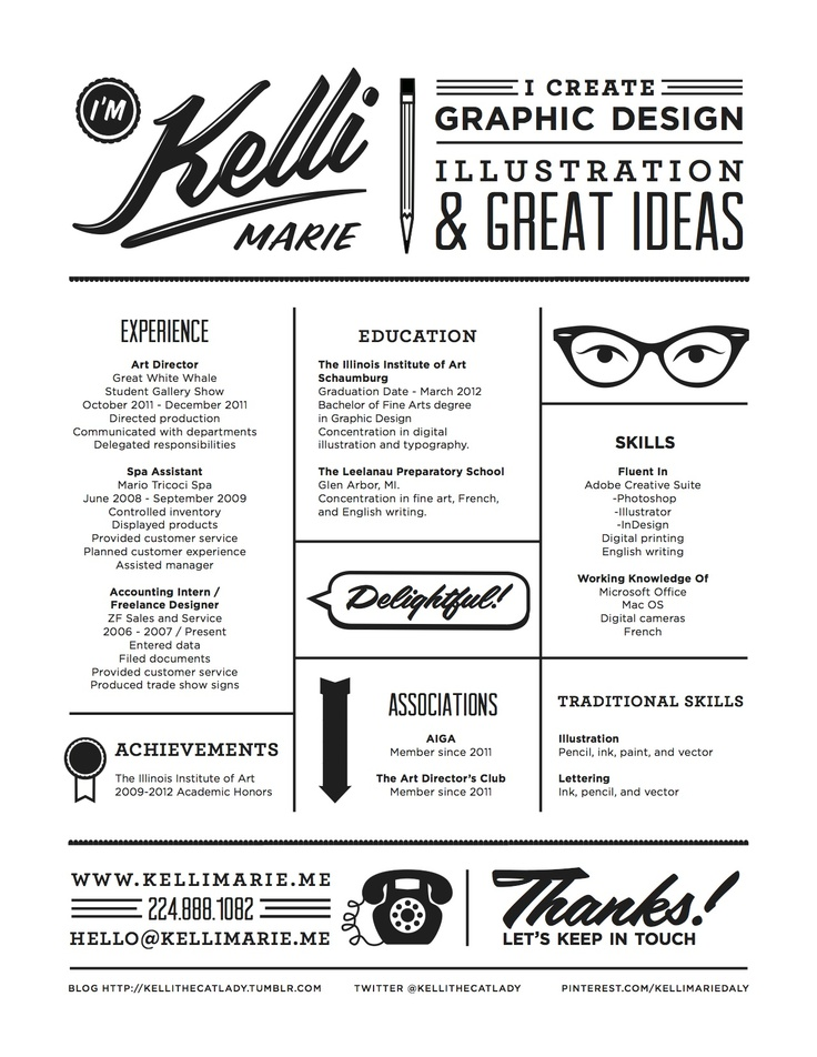 clean graphic design resume by kelli marie