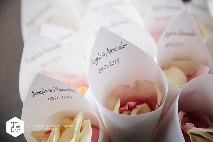 Printed Petal cones filled with Blush freeze dried rose petals.