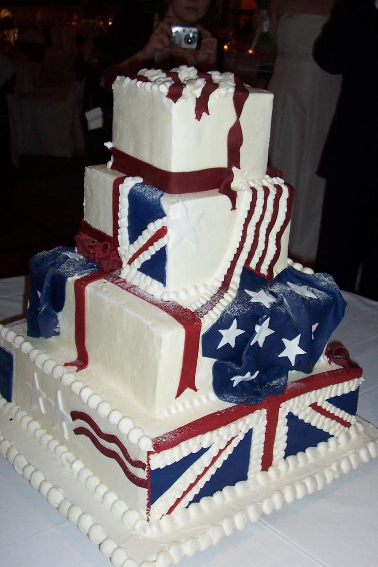 Wedding Cake 14 // Chicago Marriott Naperville // British/American Wedding Flags