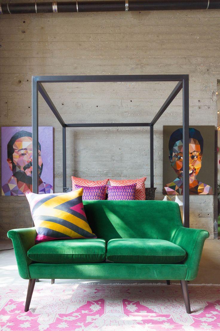 Green Velvet Sofa at Foot of Bed
