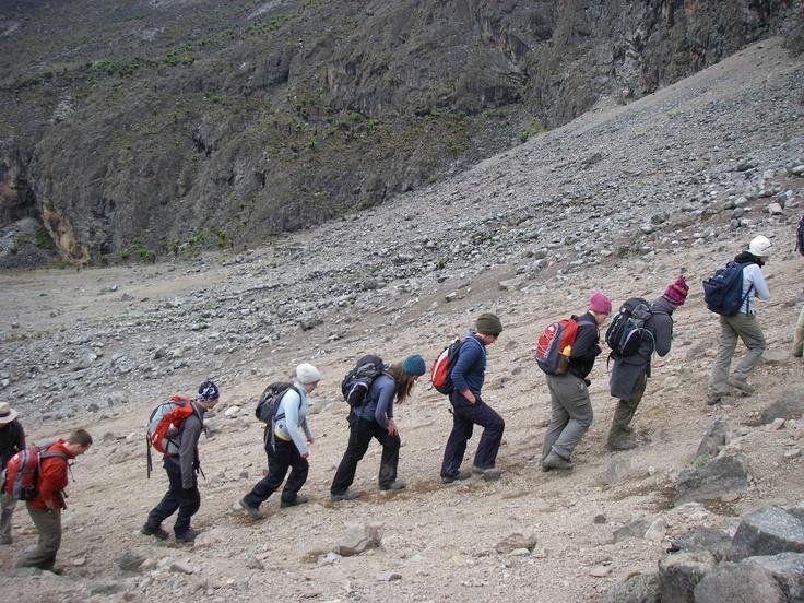 Mountain climbing in Kenya.
