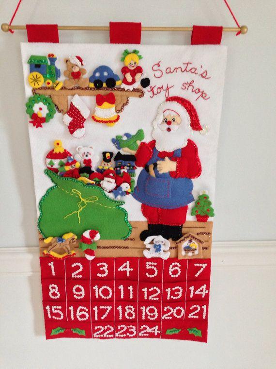 Christmas Advent Calendar Santa's Workshop Finished Bucilla Kit Handstitched- JillianBCreations on Etsy, $185.00