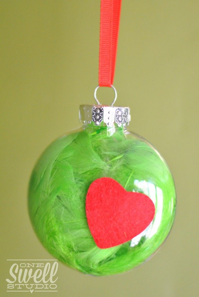 Grinch Ornament - Simple DIY project that's great for little hands!  A Very Grinchy Christmas (Party On a Budget) by One Swell Studio