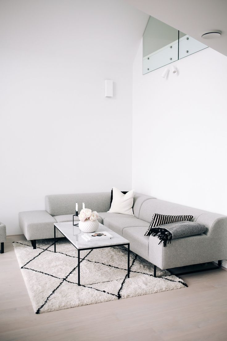 Minimalist Interior Furnishing: Clean lines, no wall color, large rug for art.