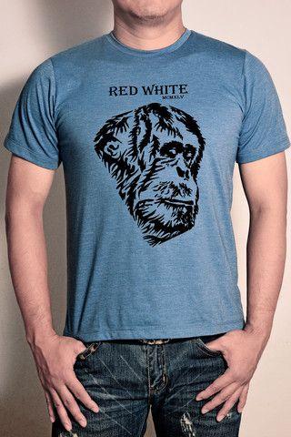 Orangutan Silhouette Flock T-shirt – Red|White1945