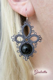Giulietta - biżuteria frywolitkowa, frywolitka, frywolitki, kolczyki frywolitkowe, tatting, tatted jewelry, gothic style