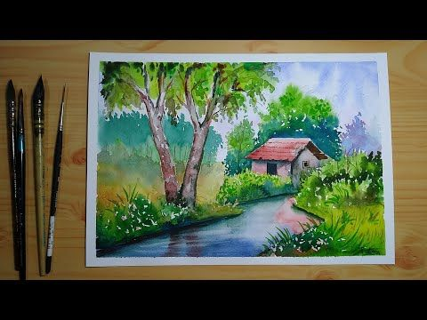 Simple Watercolor Landscape Painting For Beginners Youtube Watercolor Scenery Painting Watercolor Landscape Paintings Watercolor Art Landscape