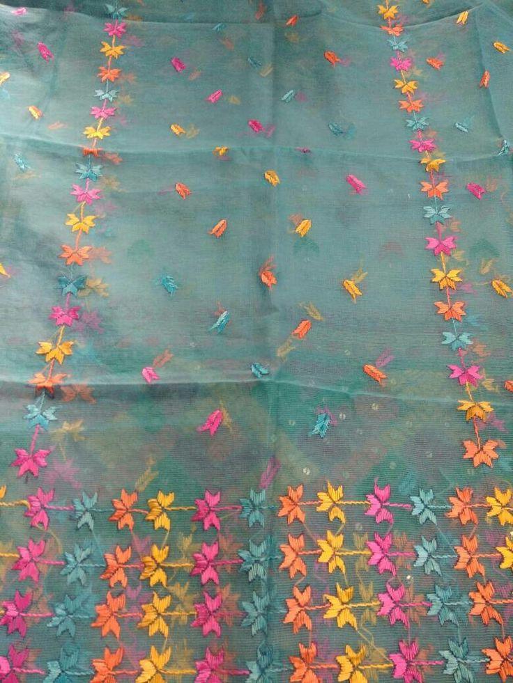 Phulkari hand work on Kota cotton  #Patiala traditions
