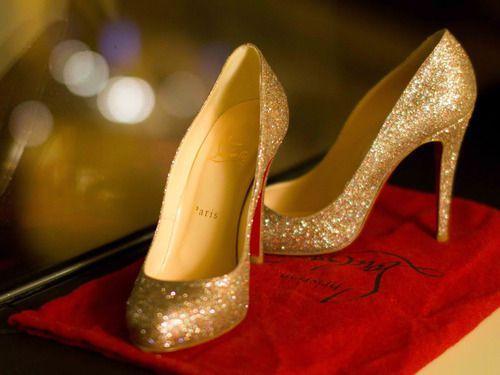 Fashion, Wedding Shoes, Cinderella Shoes, Christian Louboutin Shoes, Glitter Shoes, Wedding Heels, Stilettos, Gold, Cinderella Wedding
