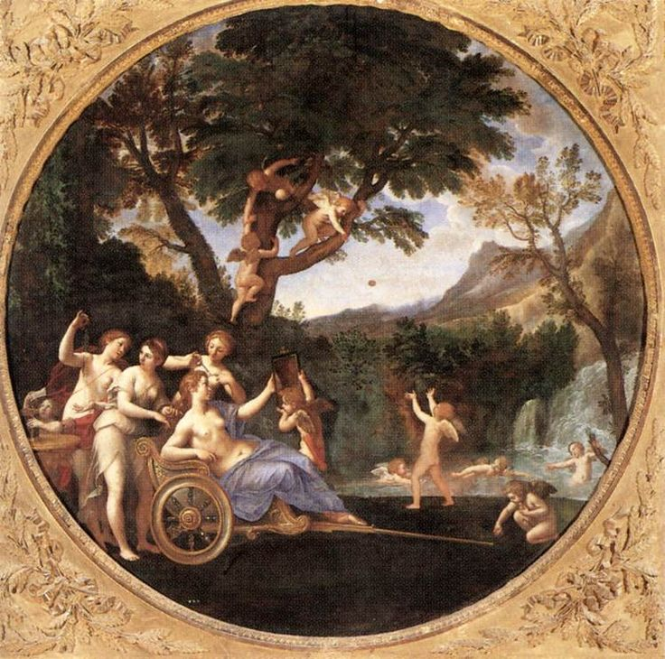 ALBANI, Francesco Spring (Venus at her Toilet) 1616-17 Oil on canvas, diameter 154 cm Galleria Borghese, Rome