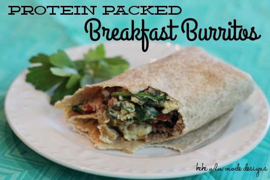 Protein Packed Breakfast Burritos- make these awesome breakfast burritos ahead, freeze and have on hand.  From bebe a la mode via www.thirtyhandmadedays.com