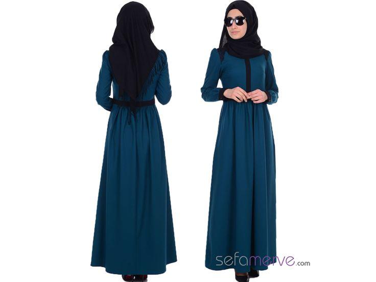 Dantel Detaylı Elbise 2347-01 Petrol #sefamerve #tesetturgiyim #tesettur #hijab #tesettür