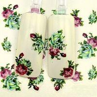 5 Шт./лот красоты вода передача ногтей наклейки надписи украшения искусства ногтя инструмент поставок зеленый розовый цветок дизайн BLE1729