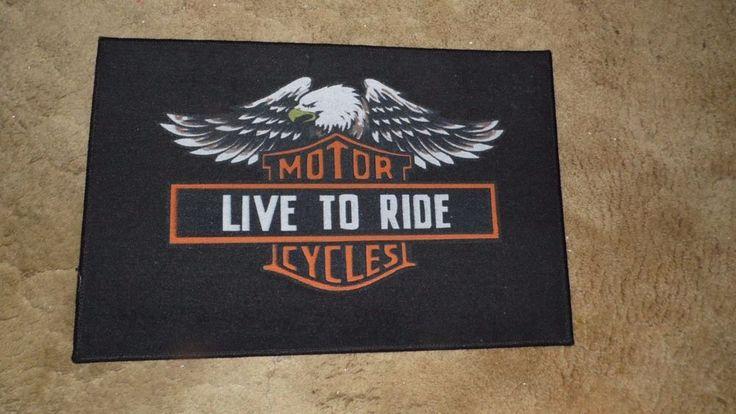 MOTORCYCLE LIVE TO RIDE HD BLACK DOOR MAT RUG INDOOR OUTDOOR NWOT #Unbranded #Novelty