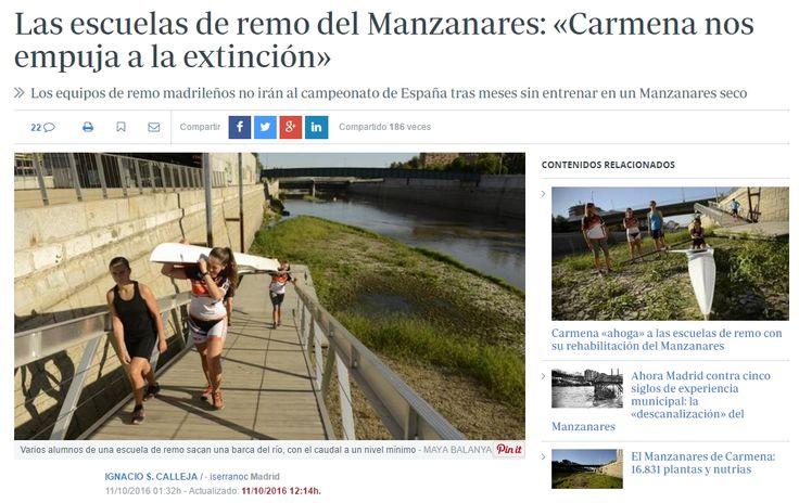 Madrid no tendrá representación en un Campeonato de España de remo por primera vez en 52 años. La ausencia de agua en el Manzanares desde el pasado mes de agosto, motivada por la naturalización del río impuesta por el Ayuntamiento - ABC 11/10/16