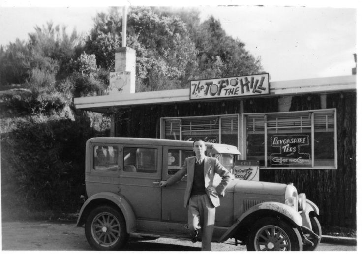 Rimutaka Hill summit; Tom Sims at 'The Top o' the Hill' tearooms. [P1-1088-3457] | Upper Hutt City Library