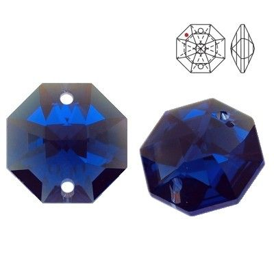STRASS 8116 Octagon 14mm Dark Sapphire Blue AB with 2 holes  Dimensions: 14,0 mm Colour: Dark Sapphire Blue AB 1 package = 1 piece