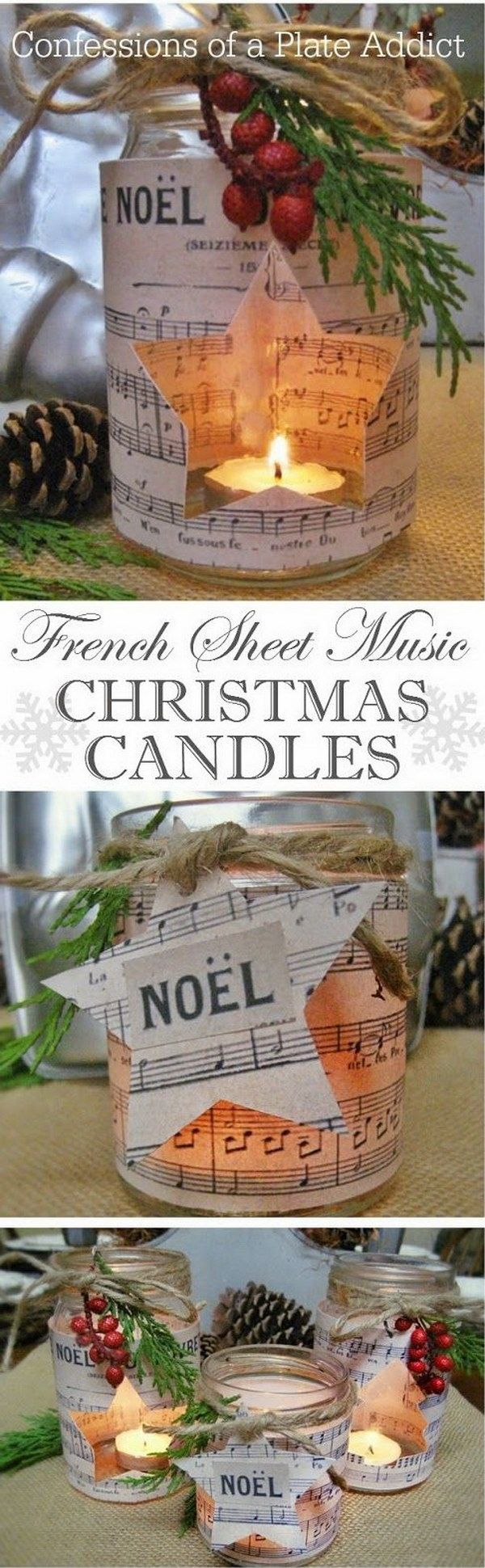 French Sheet Music Christmas Candles.