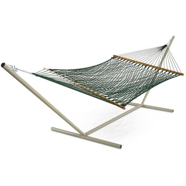 Presidential Size Original DuraCord Rope Hammock, Quick Ship ($119) ❤ liked on Polyvore featuring home, outdoors, patio furniture, hammocks & swings, green, rope hammock swing and rope hammock