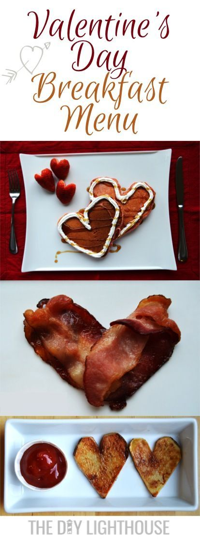 A Pinterest perfect Valentine's Day breakfast menu. Heart pancakes, heart-shaped bacon, hearty hash browns, and strawberry hearts. A breakfast or bunch your family will love! Cute and easy valentines day food for breakfast, or make breakfast for dinner!