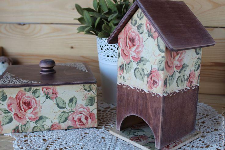 Купить Комплект для кухни.Чайный домик. Короб для кухни. Подарок на 8 марта. - чайный домик