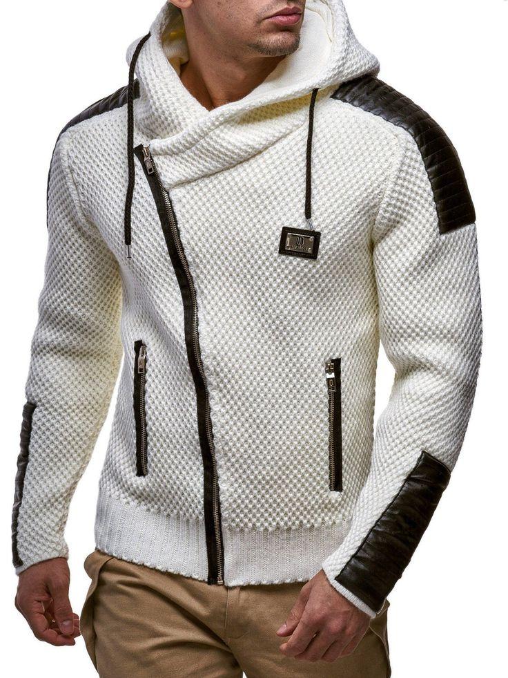 LEIF NELSON Men's Knitted Jacket 5015; Size XXL, White: Amazon.co.uk: Clothing