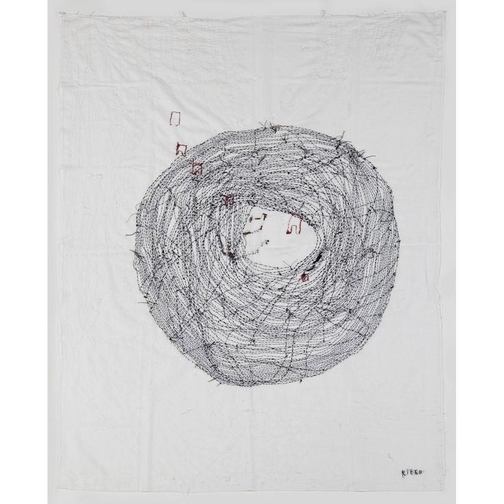 Rieko Koga (née en 1971) Tourne, tourne, 2010 Broderie à la main sur coton Signé en bas à droite 152 x 110 cm