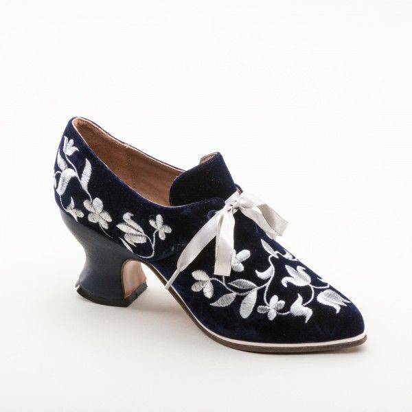 EXCLUSIVE! Louis Velveteen and Silver Court Shoes (Blue) by American Duchess - PRE ORDER ONLY May 5 - 19, 2017