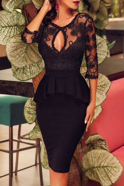 See-Through Ruffles Spliced Solid Color Bodycon Dress BLACK: Bodycon Dresses | ZAFUL