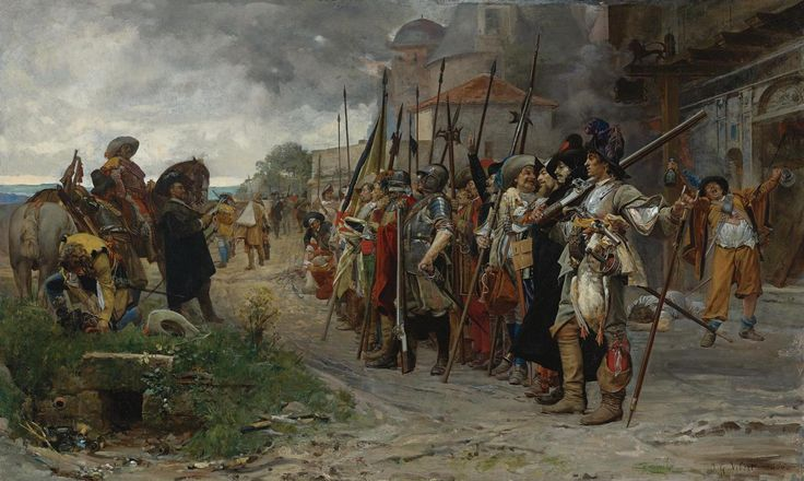 Jehan-Georges Vibert - L'appel après le pillage, 1866. Жан-Жорж Вибер. Перекличка после грабежа.