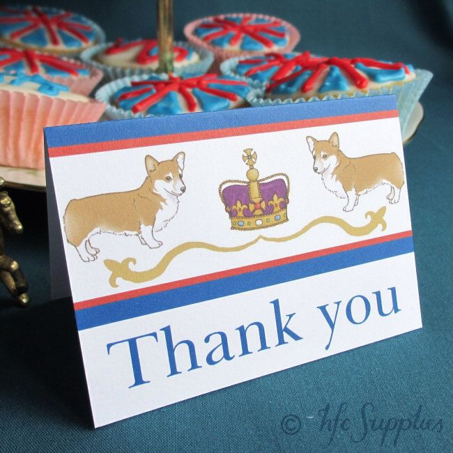 Rule Britannia Cards Printable Thank You Tent Cards - royal party corgi and crown - TC002 by hfcSupplies on Etsy https://www.etsy.com/listing/100318273/rule-britannia-cards-printable-thank-you
