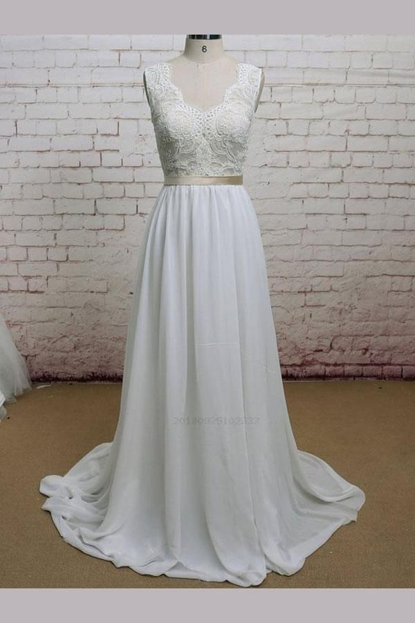 Hot Sale Admirable Wedding Dress Cheap, V Neck Wedding Dress, Lace Wedding Dress