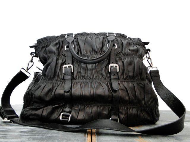 Prada BN1234 Nappa Gauffre XL Weekender/Tote Bag Black $550 ...