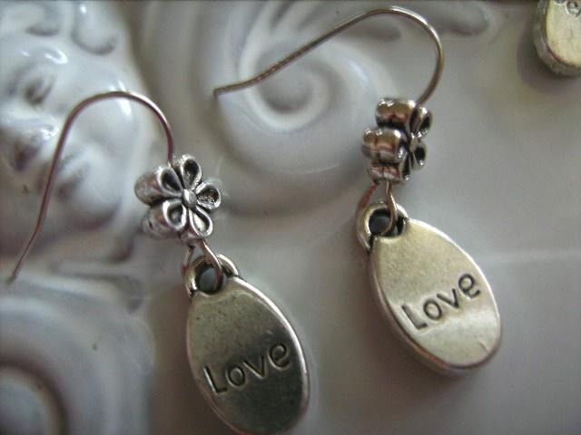 """LOVE"" INSPIRATIONAL CHARM design earrings silver tone charm earring - by createddesignsbyrina on madeit"