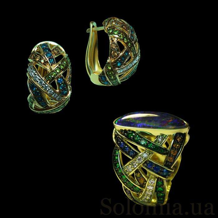 Комплект из сережек и кольца с опалом, бриллиантами, сапфирами и цаворитами
