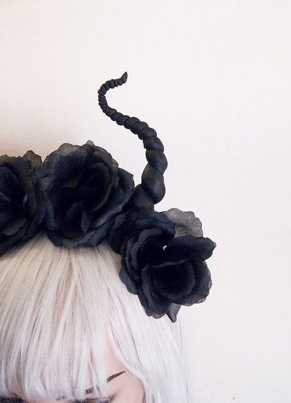 Black devil flower crown Horns Headdress by BlackUnicornShop