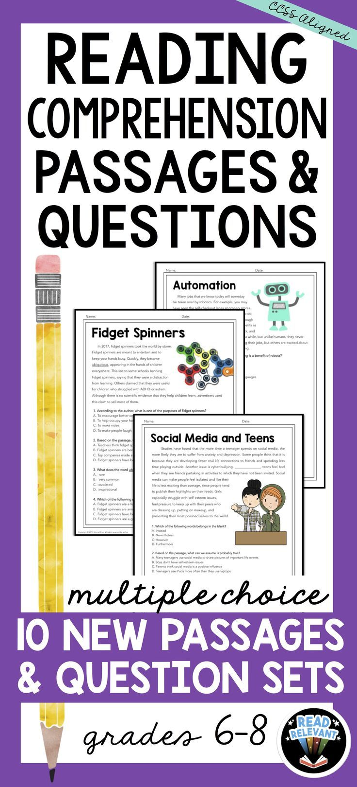 10 high interest informational reading passages with multiple choice comprehension questions. There printable one-page worksheets are a great tool for test prep, skill review, homework or bellringers!