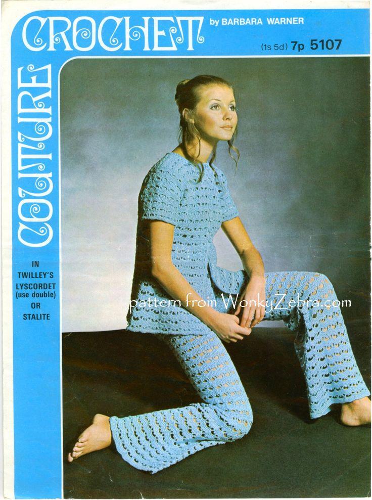 """A beautiful, vintage crochet trouser suit pattern. """"Barbara Warner couture crochet"""" pattern5107  from WonkyZebra,com.as pattern PDF WZ102"""