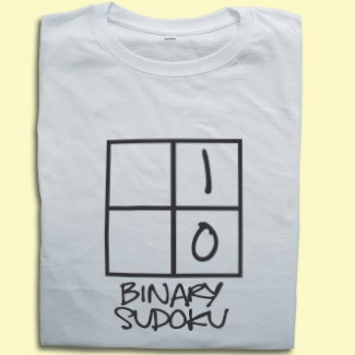 What do you mean you don't understand binary? Like Terry Nutkins, it only has 2 digits to worry about.... next you're going to tell me you don't get Pi. Anyway, this rather fine Binary Sudoku T-shirt is an ideal present to yourself or for the computer dude in your life that also loves Japanese number puzzles. And in case you were in any doubt, it costs 0011000100110011001011100011100100111001 £15