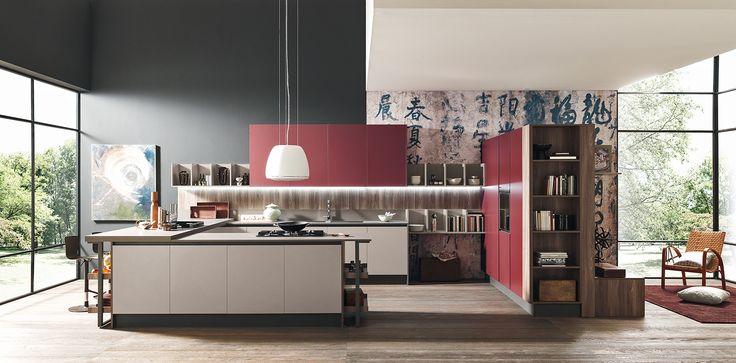 #Red, #Kitchen, #modern #Eurocasa #Chinese #Asian #inspiration