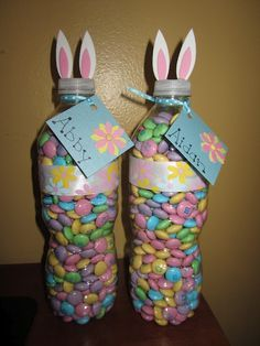 Easter Bunny Treats using water bottles and Easter M&Ms - Could use those mini water bottles and fill with wrapped candies too.  Something for while I am away.