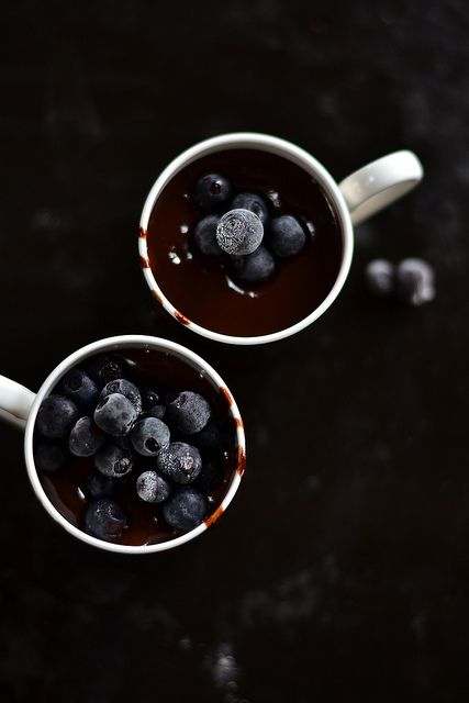 Chocolate ganache. with blueberries
