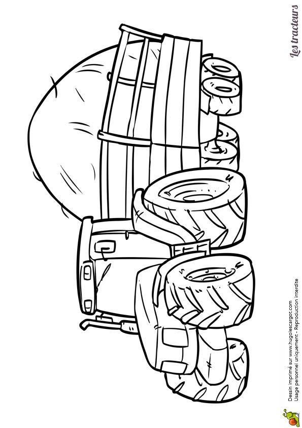 Coloriage d'un tracteur transportant un chargement de paille - Hugolescargot.com