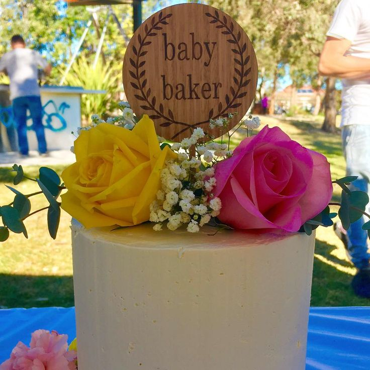 Custom timber cake topper. Laser etched design. Beautiful idea for a baby shower or birthday. Follow @akuko_ on instagram for more!