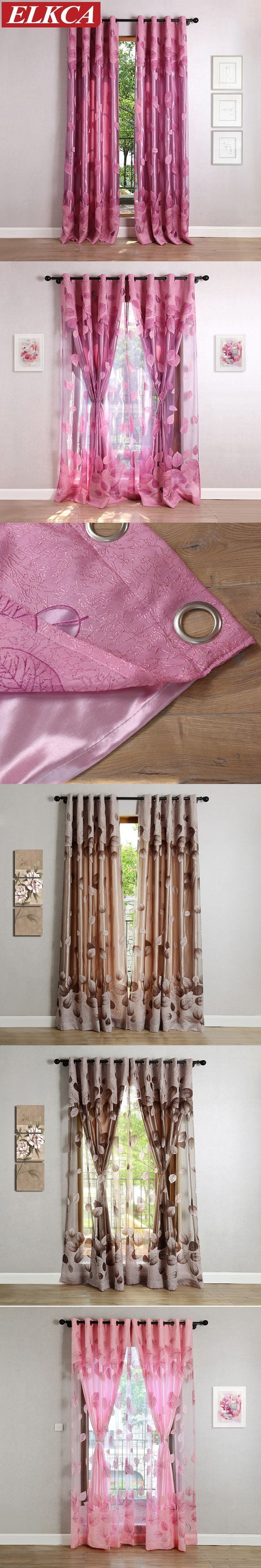 2 Layers Leaves Burnout Purple Tulle Curtains for Living Room Luxury Window Curtains for the Bedroom Kitchen Modern Curtains $48
