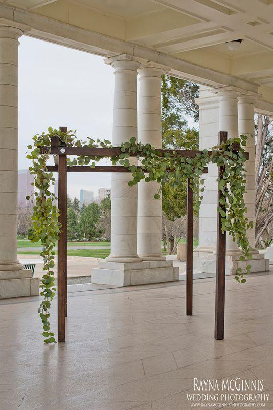 denver chuppah, colorado wedding arch rental, ceremony floral decor, silver dollar eucalyptus, cheeseman park wedding, denver wedding floris...