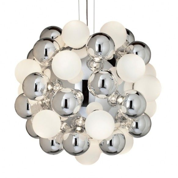 "VISO's ""Moss"" in the colour Chrome with Frosted White bulbs."
